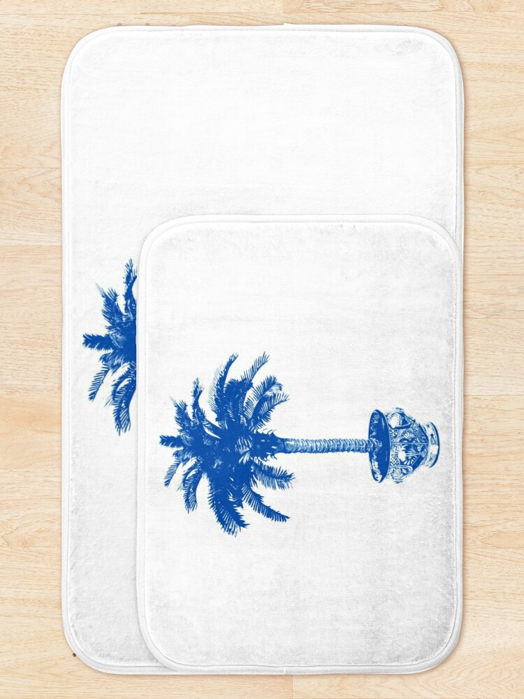 Alternate view of Potted Palm Tree, cobalt blue and white Bath Mat