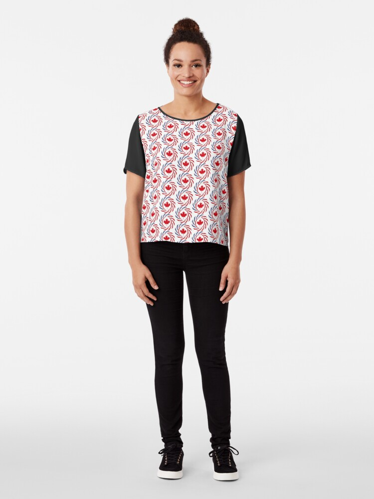Alternate view of Canadian American Multinational Patriot Flag Series Chiffon Top
