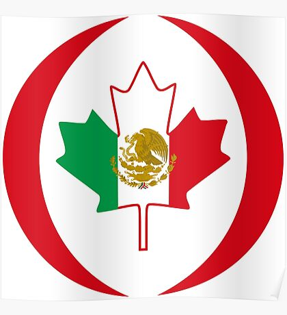 Mexican Canadian Multinational Patriot Flag Series Poster