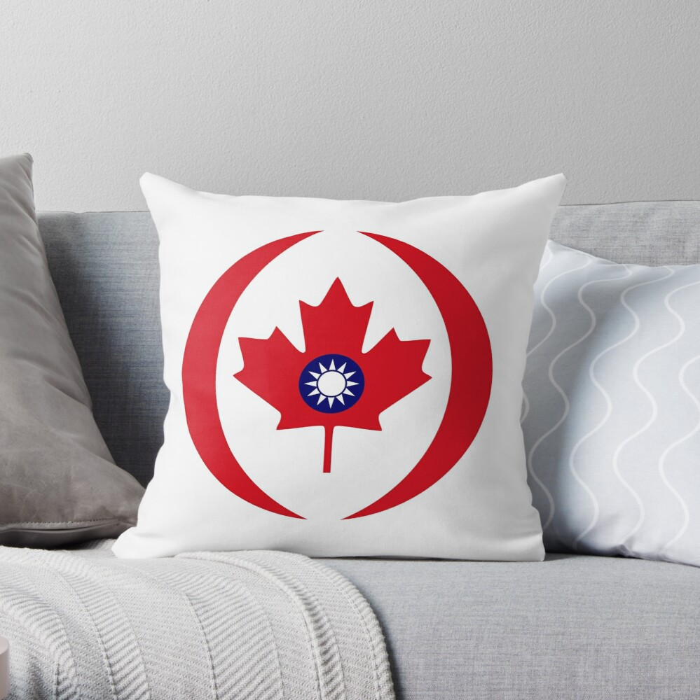 Taiwanese Canadian Multinational Patriot Flag Series Throw Pillow