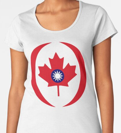 Taiwanese Canadian Multinational Patriot Flag Series Premium Scoop T-Shirt