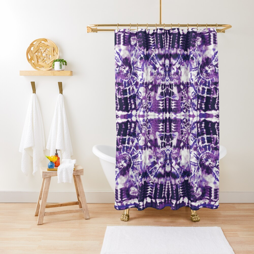 Tie-Dye Spiral Shibori Shower Curtain