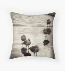 Silver Gulls on the beach Throw Pillow