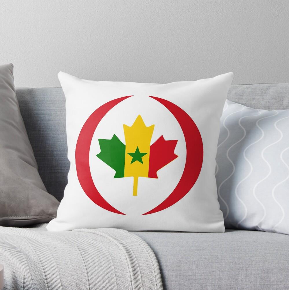 Senegalese Canadiain Multinational Patriot Flag Series Throw Pillow