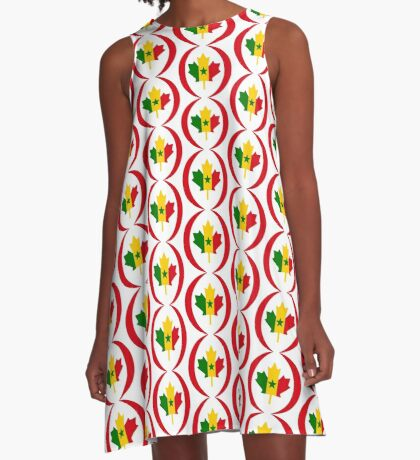 Senegalese Canadiain Multinational Patriot Flag Series A-Line Dress