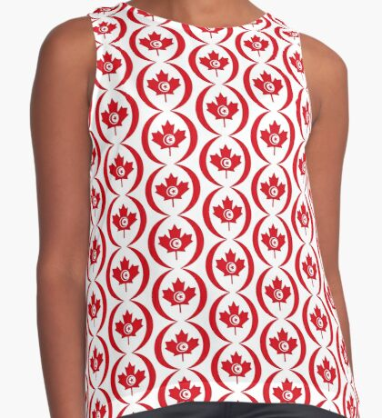 Tunisian Canadian Multinational Patriot Flag Series Sleeveless Top