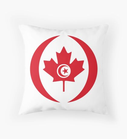 Tunisian Canadian Multinational Patriot Flag Series Throw Pillow
