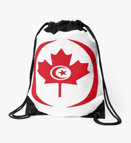 Tunisian Canadian Multinational Patriot Flag Series Drawstring Bag