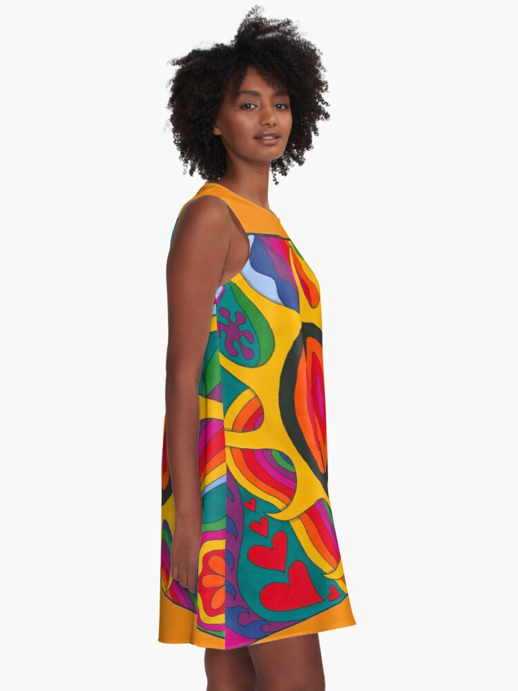 Alternate view of Psychedelic Flaming Peace A-Line Dress