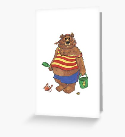 Silly Beach Bear Greeting Card