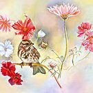SPARROW IN COSMOS FLOWERS by Judy Mastrangelo