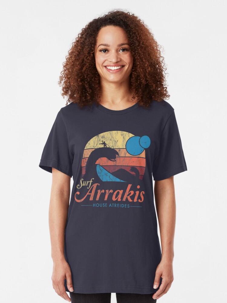 Alternate view of Visit Arrakis - Vintage Distressed Surf - Dune - Sci Fi Slim Fit T-Shirt