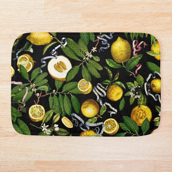 Lemon Tree - Black Bath Mat