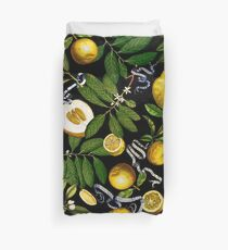 Lemon Tree - Black Duvet Cover