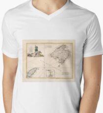 Vintage Mallorca und Ibiza Inseln Karte (1778) T-Shirt mit V-Ausschnitt