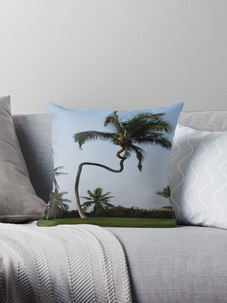 "Hawaii Slanted House Design: ""hawaiian Crooked Palm Tree"" Throw Pillows By LucilleJane"
