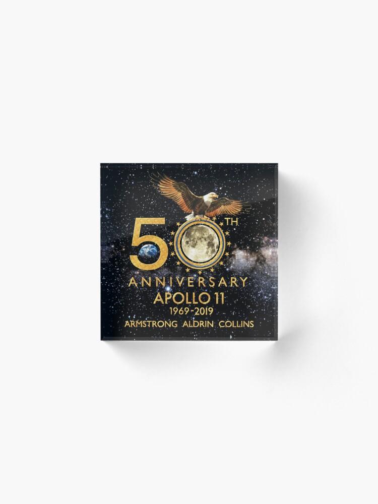 Vista alternativa de Bloque acrílico 50 aniversario de la llegada a la luna del Apolo 11 1969-2019