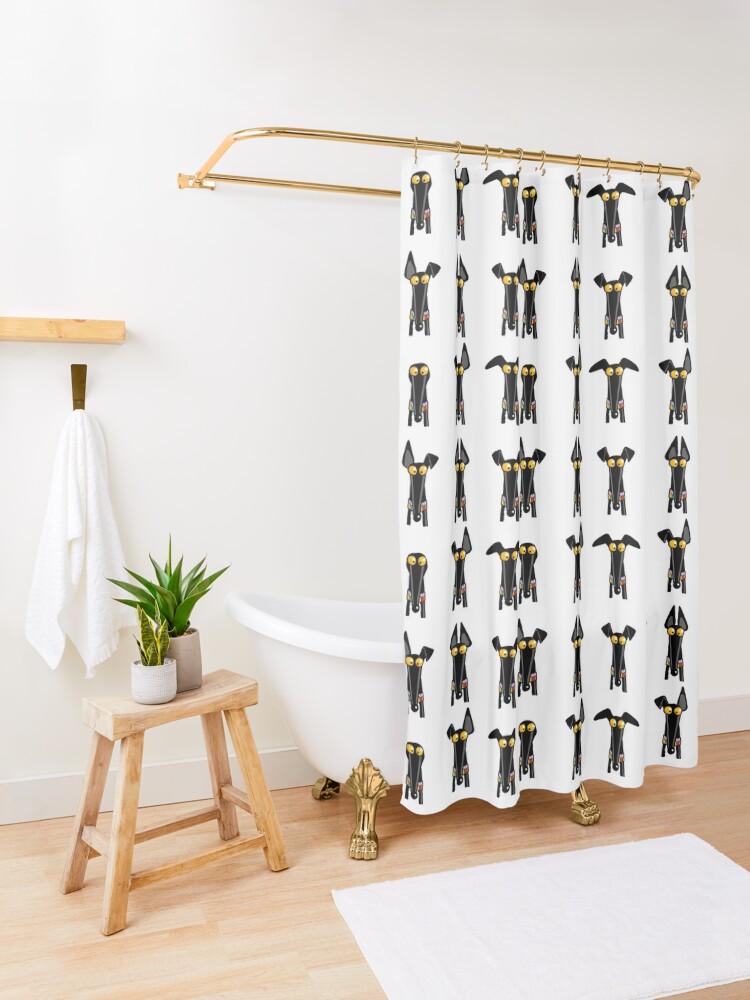 Alternate view of Greyhound semaphore: White Shower Curtain