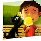 Cat Swatting at Ice Cream by JenBargerIllys