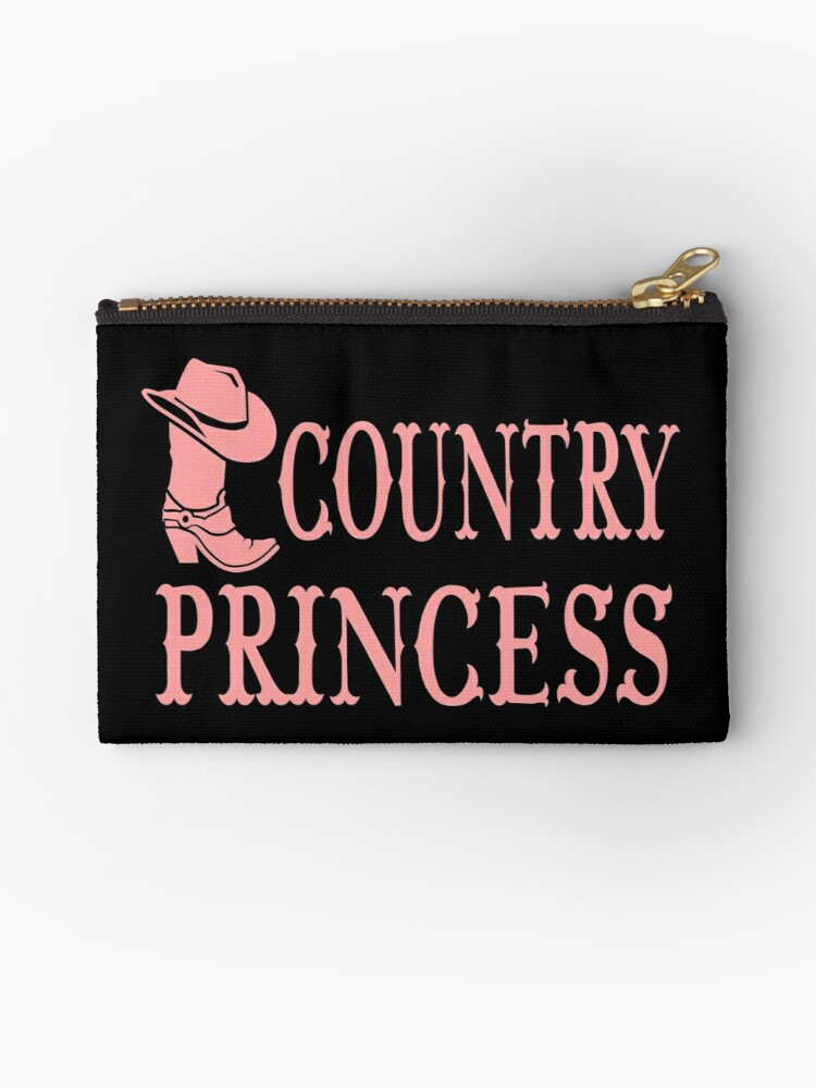 \u0027Country Girl Princess Horse Cowgirl Line Dancing Farm, Rode Western Boots  Cowboy Hat\u0027 Zipper Pouch by LoveAndSerenity