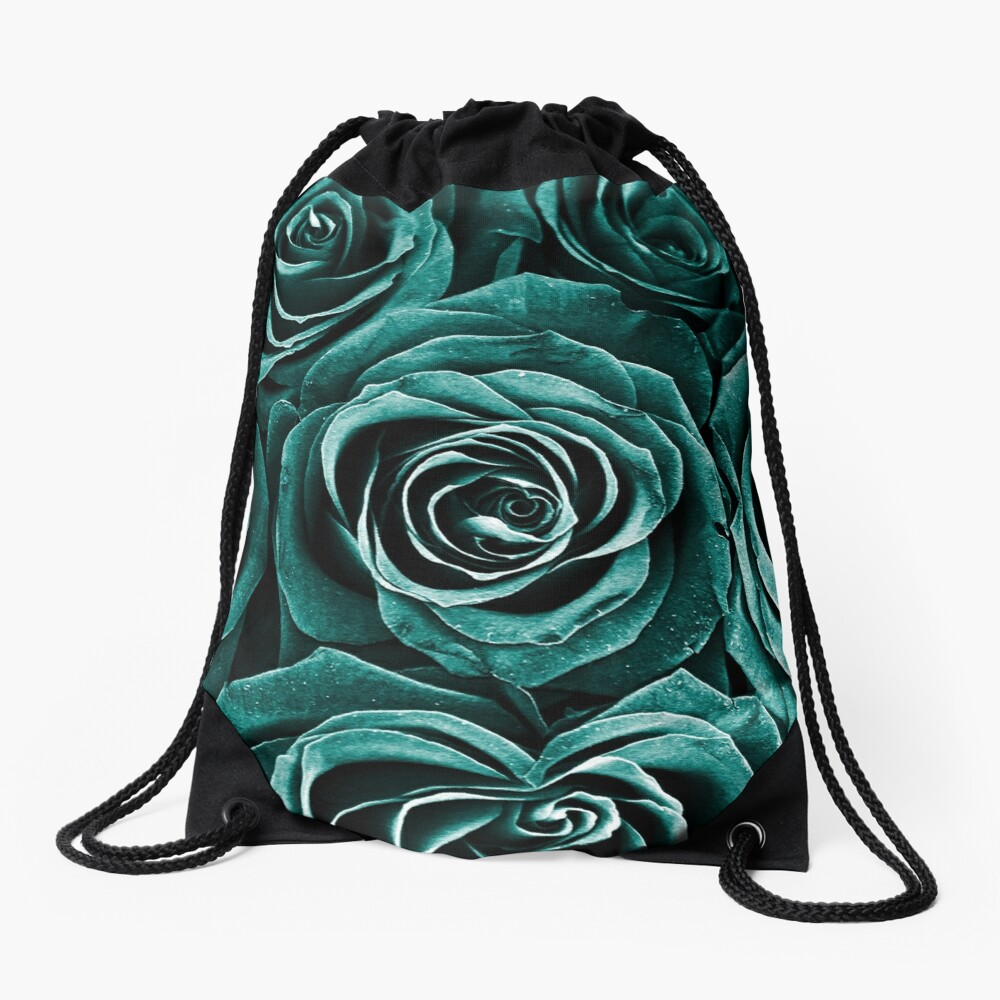 Rose Bouquet in Turquoise Drawstring Bag
