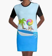 Sloth Down and Enjoy Life, Island Paradise Joypixels Emoji Graphic T-Shirt Dress
