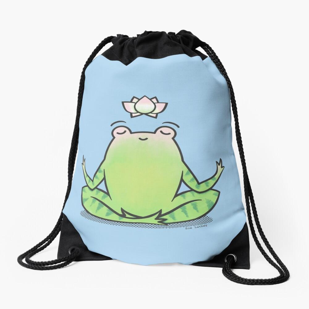 Zen Yoga Frog  Drawstring Bag