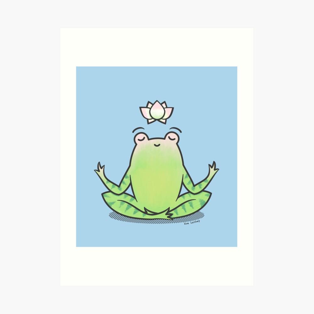 Zen Yoga Frog  Art Print