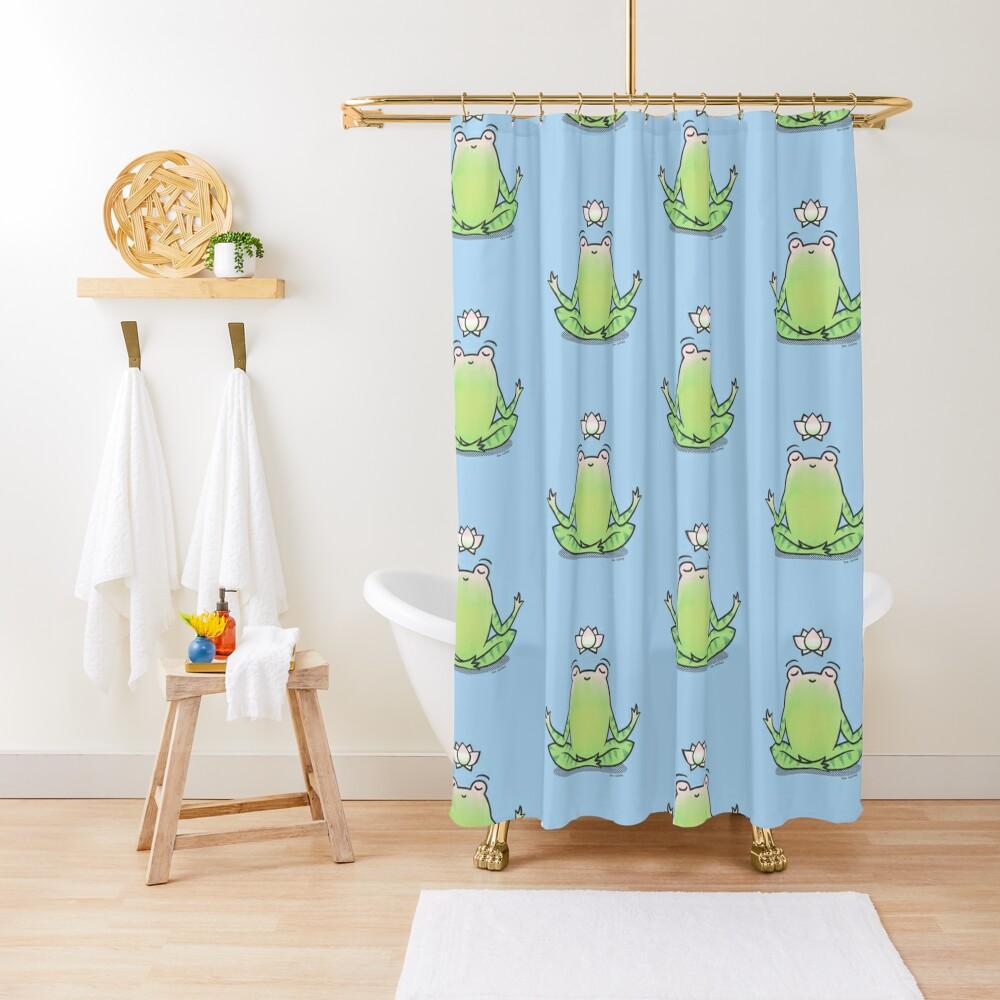 Zen Yoga Frog  Shower Curtain