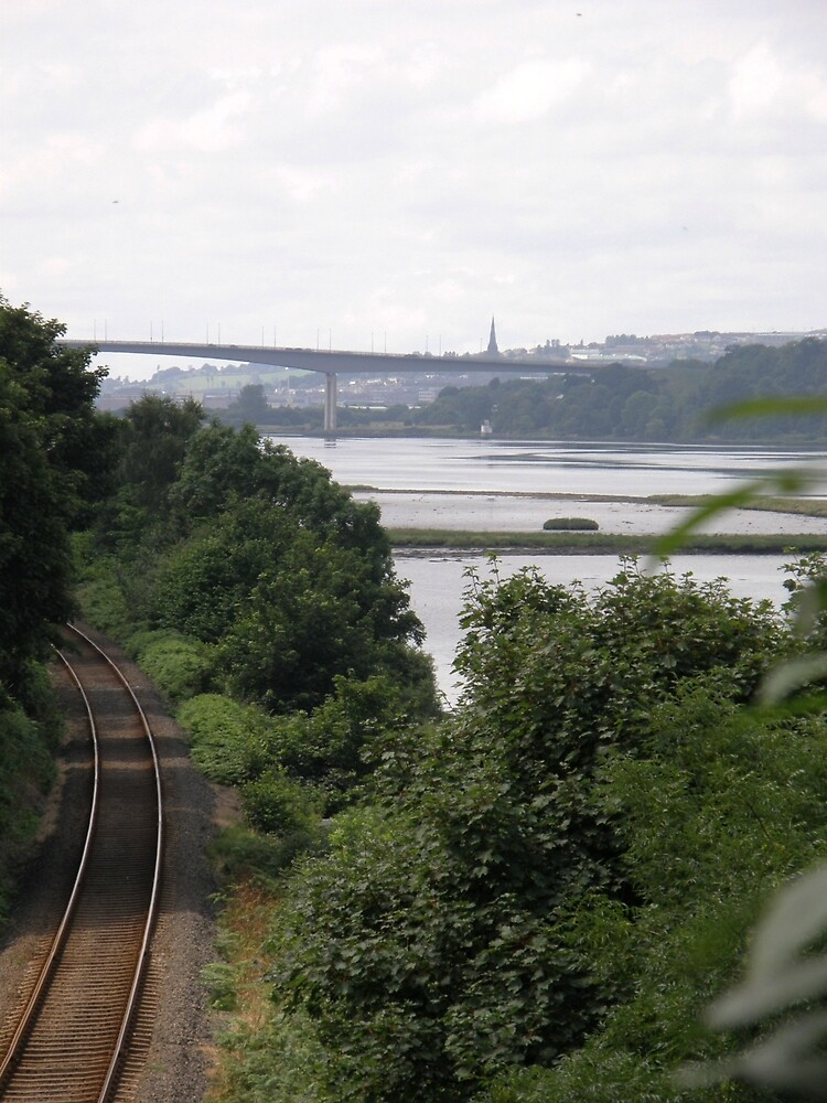 Transport systems Rail track River, Bridge and air - Derry Ireland by mikequigley