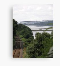Transport systems Rail track River, Bridge and air - Derry Ireland Canvas Print