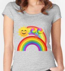 Sunshine, Lollipops and Rainbows Happy Day Joypixels Emoji Fitted Scoop T-Shirt