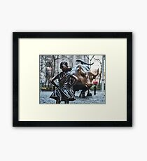 Close up of Fearless Girl statue facing Charging Bull in New York City | Classic chrome Framed Print