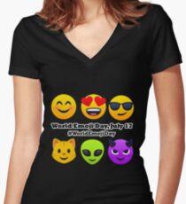 World Emoji Day July 17 #WorldEmojiDay Joypixels Emoji Fitted V-Neck T-Shirt