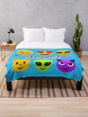 World Emoji Day July 17 #WorldEmojiDay Joypixels Emoji Throw Blanket