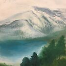 """misty mountain,"" original painting by mjh, 01-05-2019 by eustacia42"