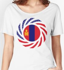 Mongolian American Multinational Patriot Flag Series Relaxed Fit T-Shirt