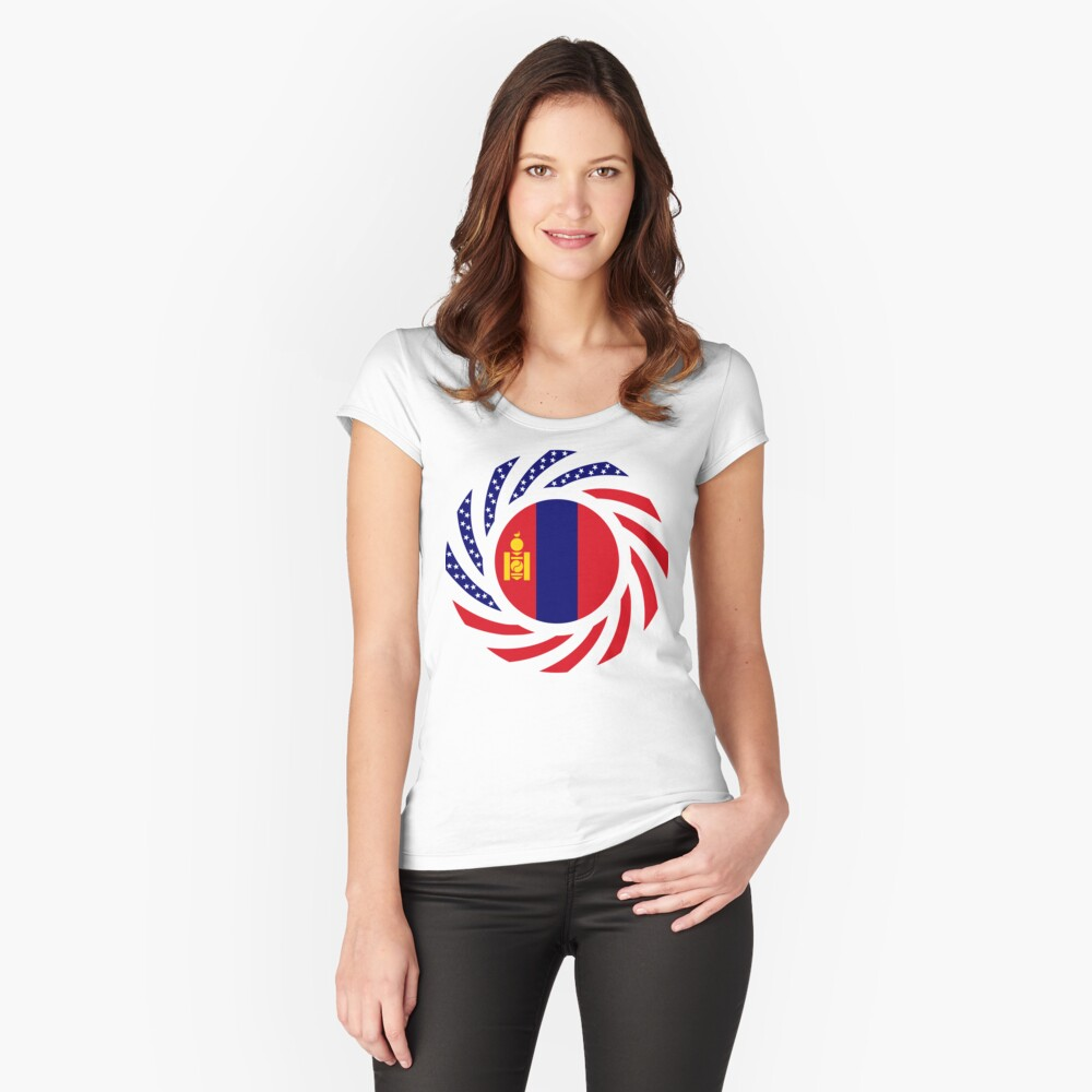 Mongolian American Multinational Patriot Flag Series Fitted Scoop T-Shirt