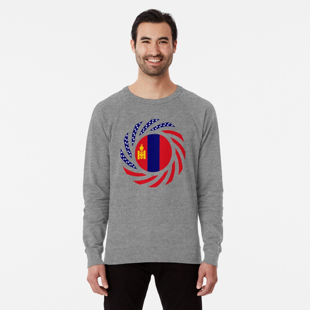 Mongolian American Multinational Patriot Flag Series Lightweight Sweatshirt