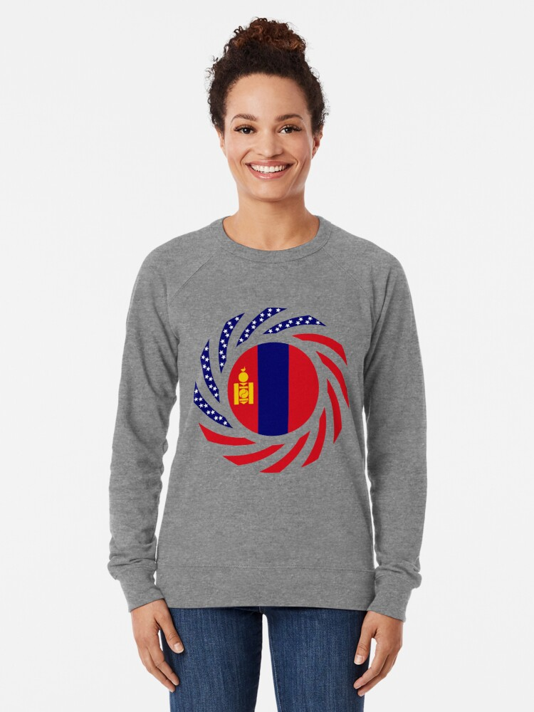 Alternate view of Mongolian American Multinational Patriot Flag Series Lightweight Sweatshirt