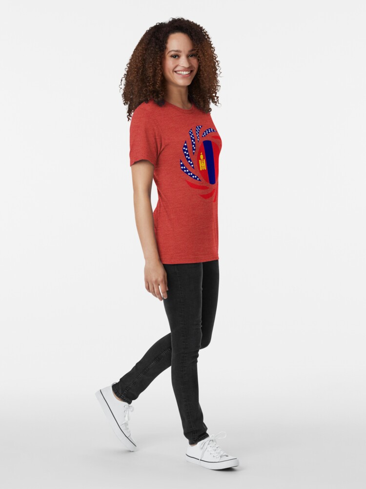 Alternate view of Mongolian American Multinational Patriot Flag Series Tri-blend T-Shirt