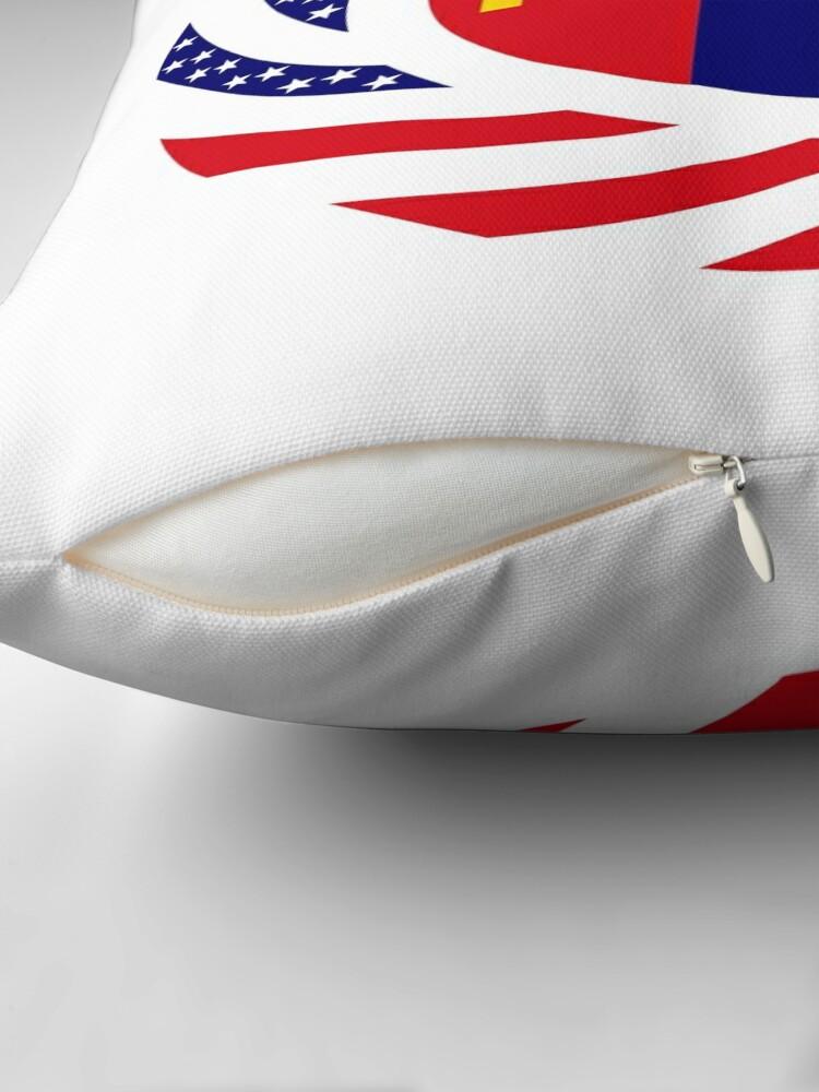 Alternate view of Mongolian American Multinational Patriot Flag Series Throw Pillow