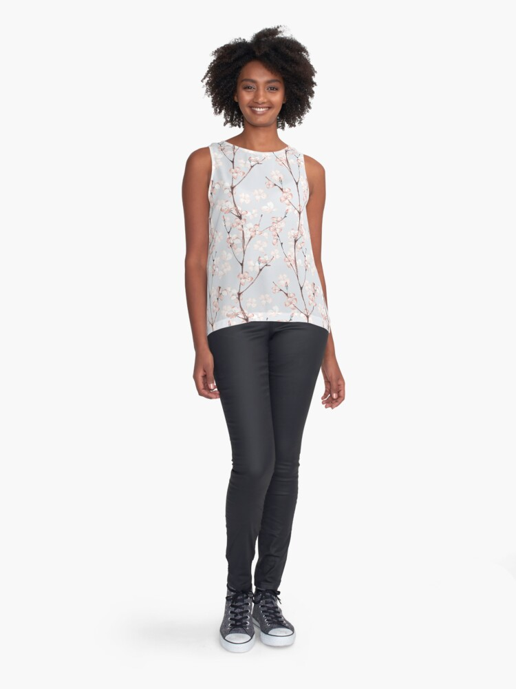 Alternate view of Blossom. Watercolor seamless floral pattern Sleeveless Top
