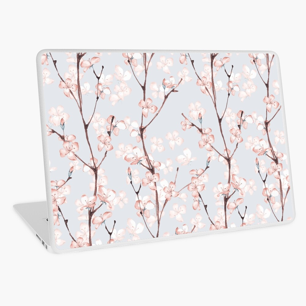 Blossom. Watercolor seamless floral pattern Laptop Skin