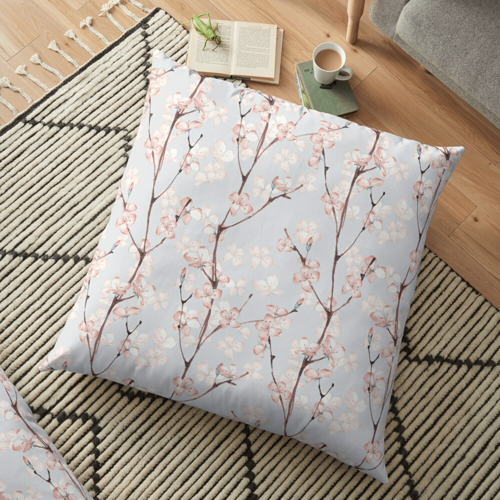 Blossom. Watercolor seamless floral pattern Floor Pillow