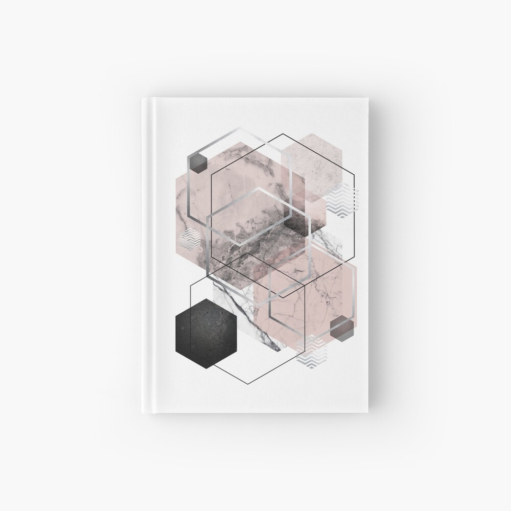Blush and Grey Geometric Hardcover Journal