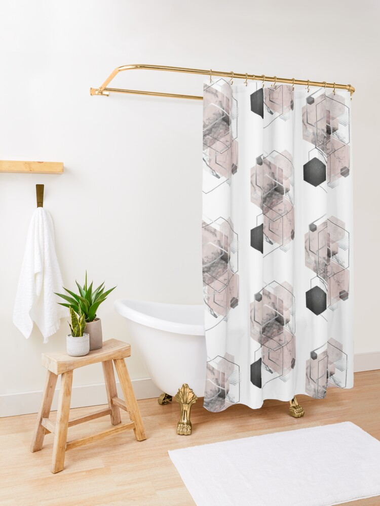 Alternate view of Blush and Grey Geometric Shower Curtain