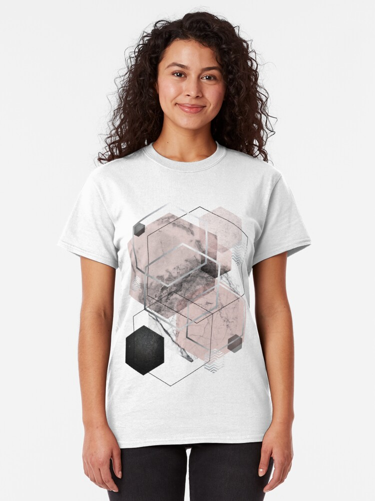 Alternate view of Blush and Grey Geometric Classic T-Shirt