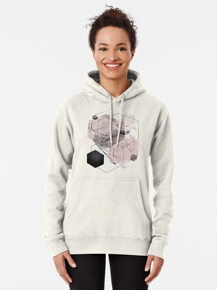 Alternate view of Blush and Grey Geometric Pullover Hoodie