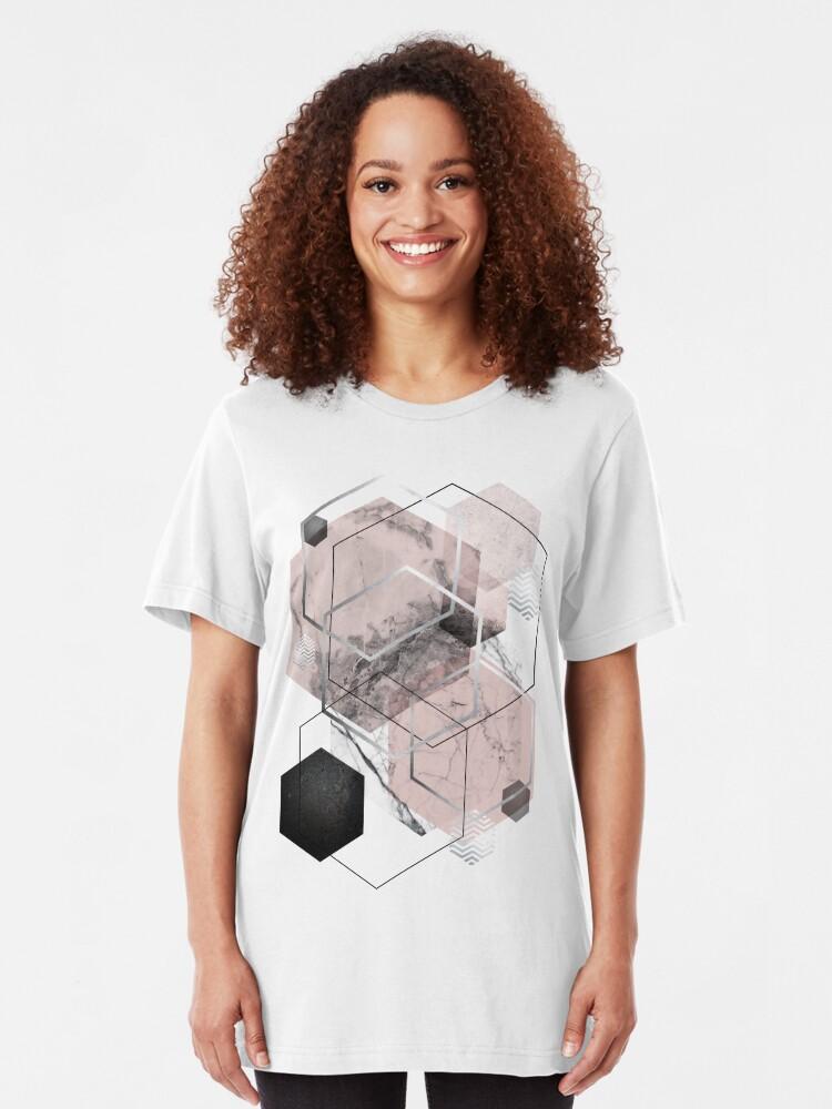 Alternate view of Blush and Grey Geometric Slim Fit T-Shirt